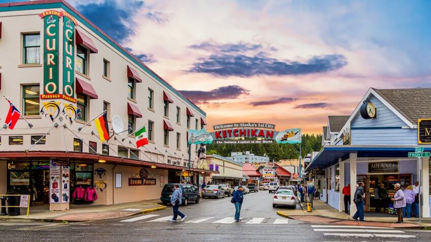 KETCHIKAN, ALASKA - May 29, 2016: Ketchikan is the southeasternmost city in Alaska, with a population of 8,000.