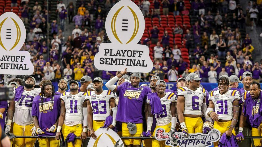 Mandatory Credit: Photo by Cecil Copeland/CSM/Shutterstock (10514195cy)LSU celebrates their Peach Bowl win after the Chick-Fil-A Peach Bowl - a College Football Playoff Nationall Semifinal - featuring the Oklahoma Sooners and the LSU Tigers, played at Mercedes Benz Stadium in Atlanta, GeorgiaNCAA Football Chick-fil-A Peach Bowl Oklahoma vs LSU, Atlanta, USA - 28 Dec 2019.