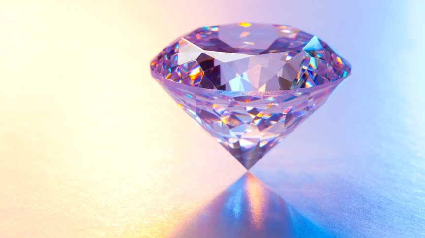 Large Diamond on Reflective Surface.