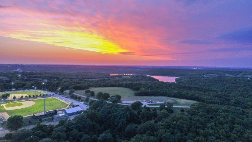 Sunset over Shawnee Mission Park, Lenexa, Kansas.