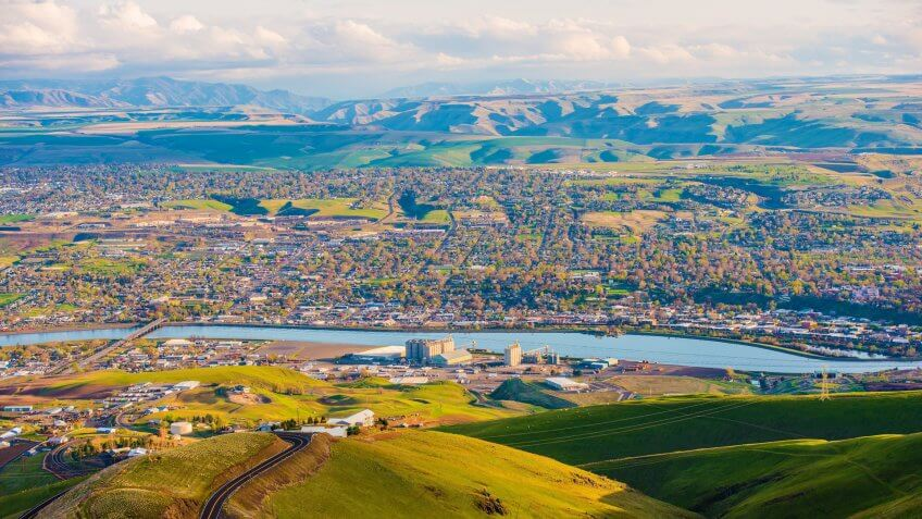 Lewistone Idaho USA Cityscape and the Snake River in Summer.