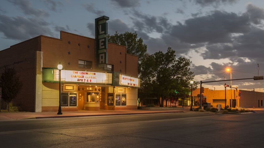Lovington, New Mexico - April 08,2018:  This evening photograph is of the Lea Movie Theater in  New Mexico.