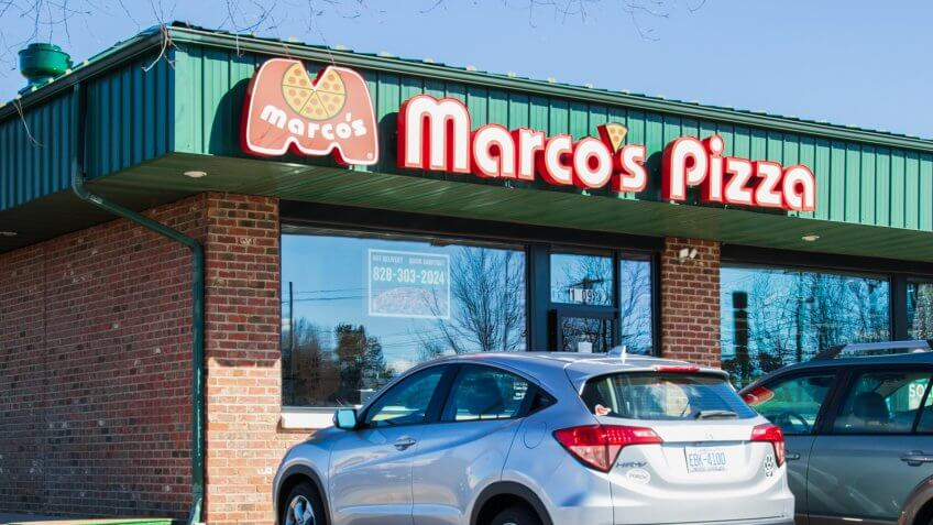 HICKORY, NC, USA-01/20/19: Marco's Pizza is a franchised pizza chain based in Toledo, Ohio.