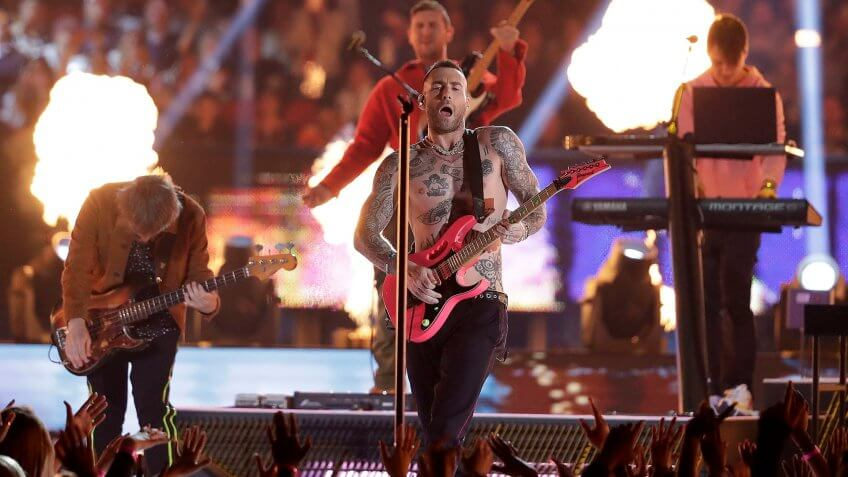 Maroon 5 performs during halftime of the NFL Super Bowl 53 football game between the Los Angeles Rams and the New England Patriots, in AtlantaPatriots Rams Super Bowl Football, Atlanta, USA - 03 Feb 2019.