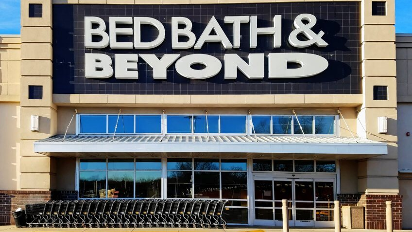 HDR image, Bed Bath and Beyond retailer storefront entrance, Saugus Massachusetts USA, December 25, 2018.