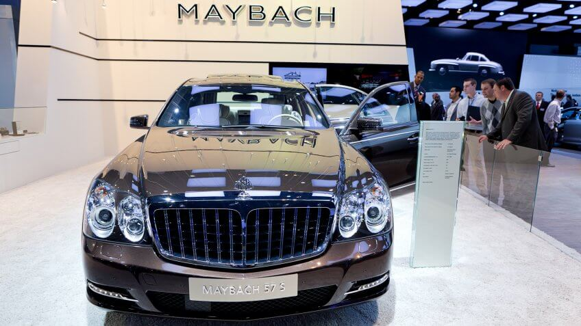 DETROIT - JANUARY 11: The new Maybach 57 S on display at the 2012 North American International Auto Show Industry Preview on January 11, 2012 in Detroit, Michigan.
