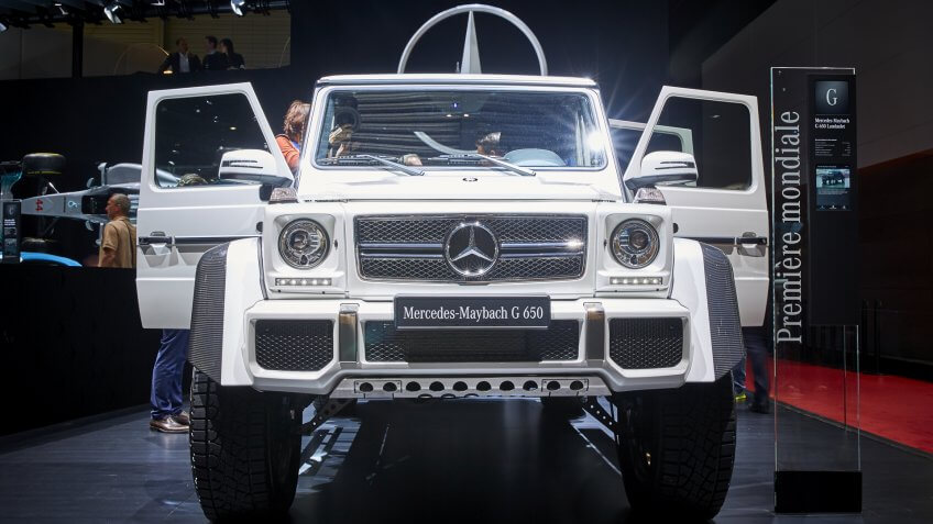 Geneva, Switzerland - March 8, 2017: 2017 Mercedes-Maybach G650 Landaulet presented on the 87-th Geneva International Motor Show in the PalExpo.