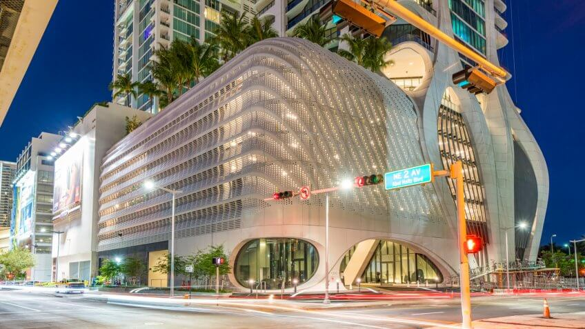 Miami, FL, USA - October 22, 2019: Amazing building Miami One Thousand Museum highrise apartment building.