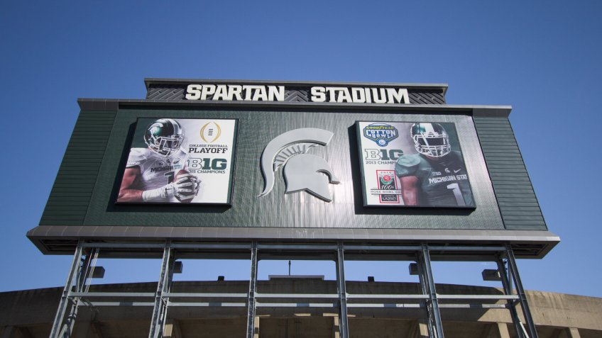 East Lansing, Michigan, USA - September 17, 2018: Exterior of Spartan Stadium on the Michigan State University campus.