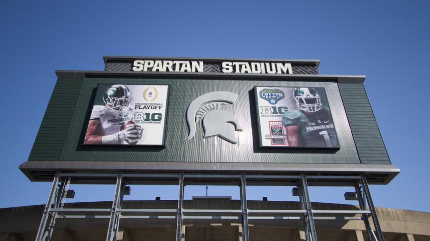 East Lansing, Michigan, USA - September 17, 2018: Exterior of Spartan Stadium on the Michigan State University campus.