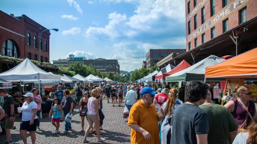 Saturday August 18th 2018 at the Old Market farmers market in Omaha Nebraska USA.