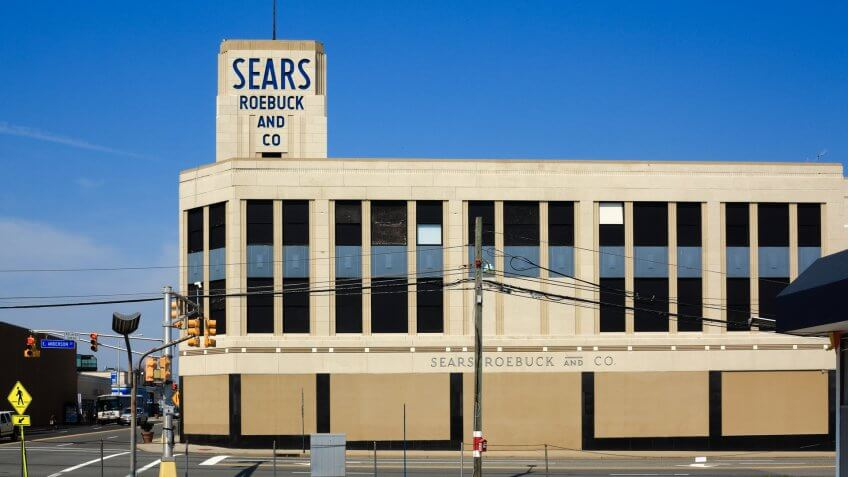 HACKENSACK, NEW JERSEY - APRIL 14: Vintage Sears Roebuck department store on April 14, 2018 in Hackensack, New Jersey.