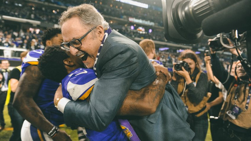 Stefon Diggs and Zygmunt 'Zygi' WilfNew Orleans Saints at the Minnesota Vikings, Minneapolis, USA - 14 Jan 2018Minnesota Vikings wide receiver Stefon Diggs (L) hugs Minnesota Vikings owner Zygmunt 'Zygi' Wilf (R) after defeating the New Orleans Saints during the NFC Divisional Playoffs at US Bank Stadium in Minneapolis, MN.