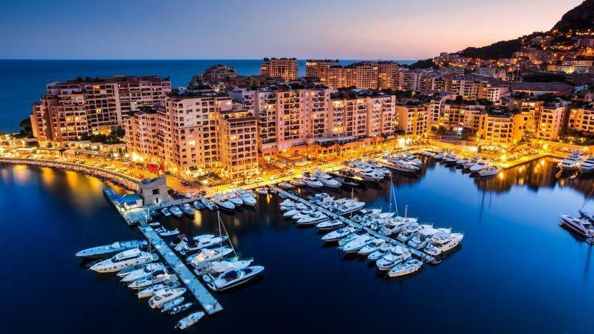 Night view on Fontvieille and Monaco Harbor.