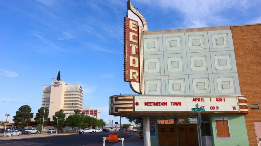 Odessa, Texas, USA - April 17, 2018: Daytime view of the city owned historic Ector Theatre along North Texas Street in downtown Odessa.