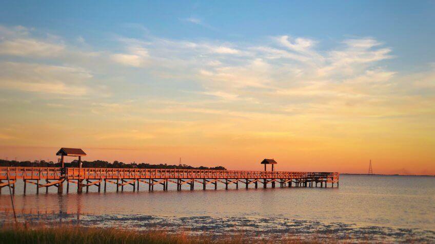 Sunset pier in Oldsmar Florida.