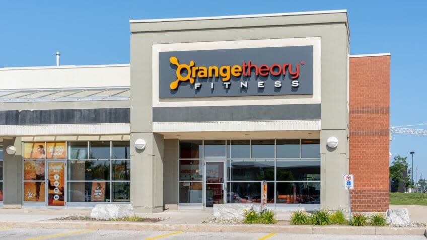 Oakville, Ontario, Canada - July 25, 2019: One of the Orangetheory Fitness in Oakville, Ontario, Canada.