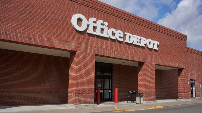 Tigard, Oregon, USA - Sep 16, 2019: Office Depot Store exterior.
