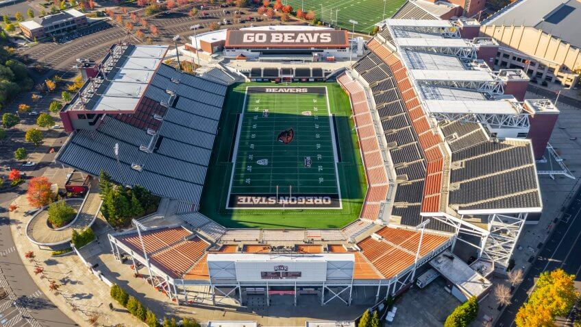 October 13, 2018 - Corvallis, Oregon, USA: Reser Stadium is an outdoor athletic stadium in the northwest United States, on the campus of Oregon State University in Corvallis, Oregon.