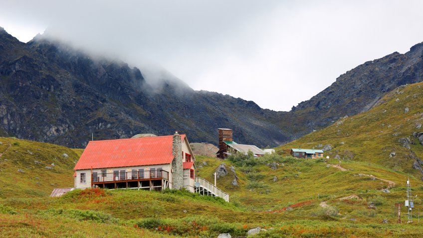 View of Independence Mine State Historical Park at Palmer, Alaska.
