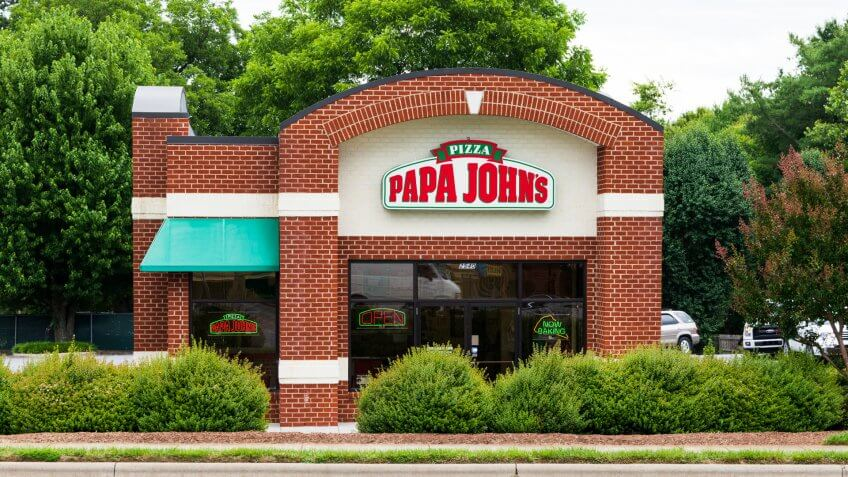 Hickory, NC, USA-21 June 18:  Papa John's Pizza is an American restaurant franchise company, being the 3rd largest take-out and pizza delivery restaurant chain in the U.