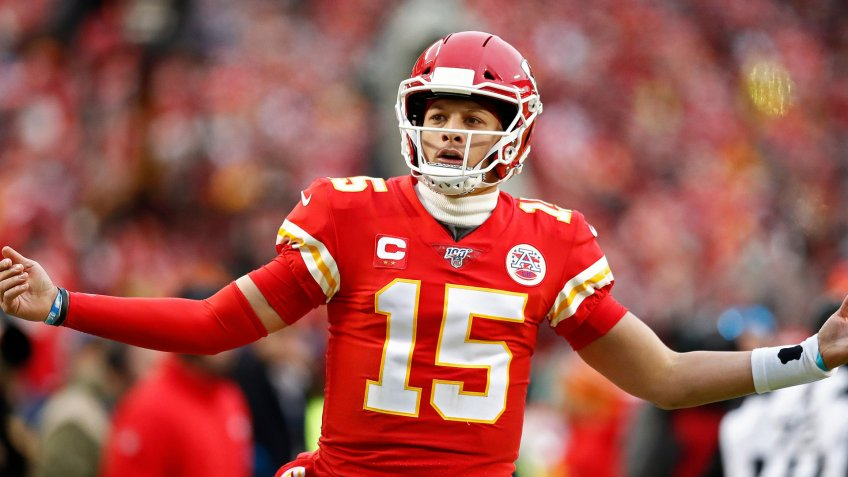 Kansas City Chiefs quarterback Patrick Mahomes reacts after a play against the Houston Texans in the first half of their AFC Divisional round playoff game at Arrowhead Stadium in Kansas City, Missouri, USA, 12 January 2020.