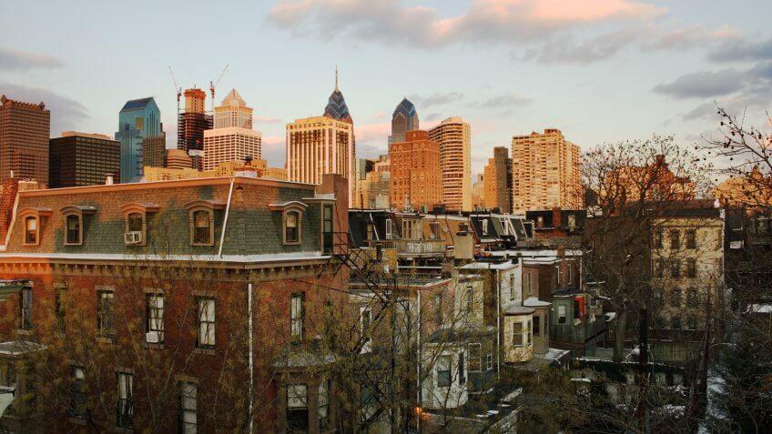 Sunset over downtown Center City, Philadelphia, PA.