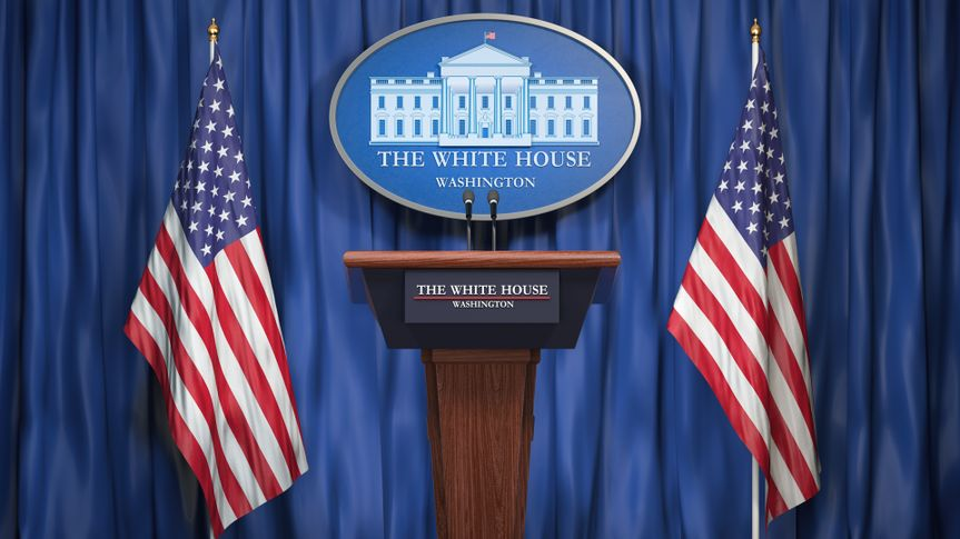Briefing of president of US United States in White House.