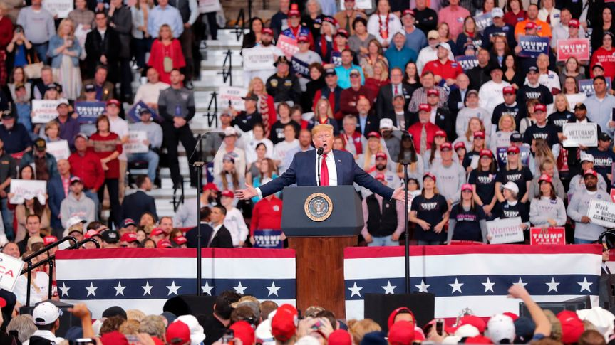 President Donald Trump speaks at a campaign rally