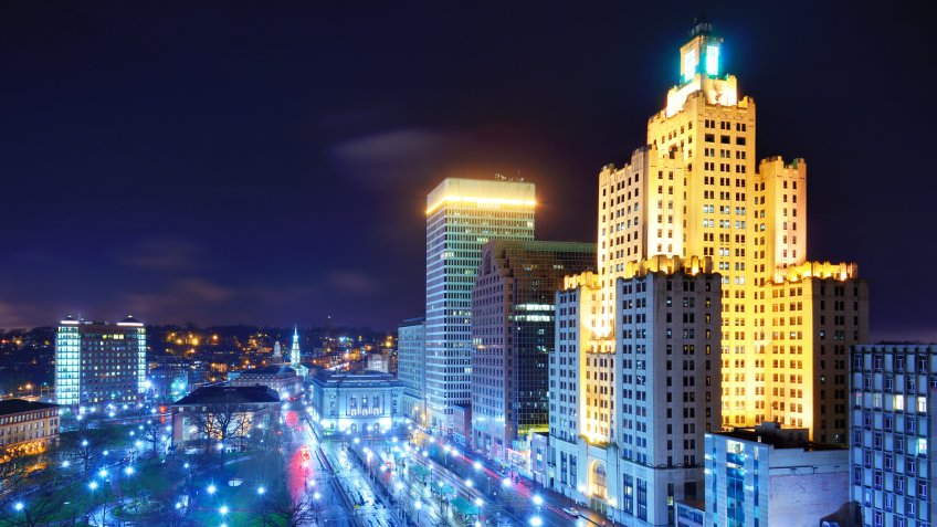 Downtown Providence, Rhode Island at night.