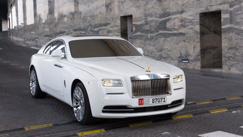 ABU DHABI, UAE - MARCH 29: Rolls-Royce Wraith at the Etihad Towers Hotel in Abu Dhabi on march 29 2014.