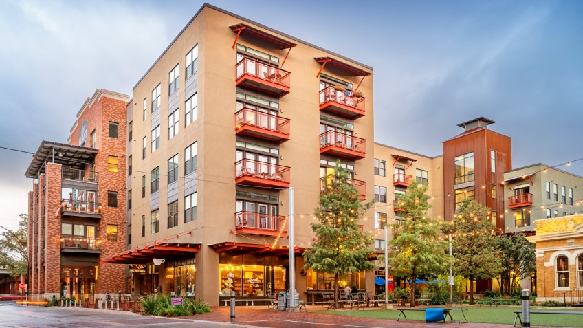 Stock photograph of new condos in the chic Pearl District of in San Antonio Texas USA.