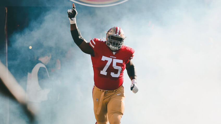 San Francisco 49ers offensive guard Laken Tomlinson (75) before an NFL football game against the Atlanta Falcons in Santa Clara, CalifFalcons 49ers Football, Santa Clara, USA - 15 Dec 2019.