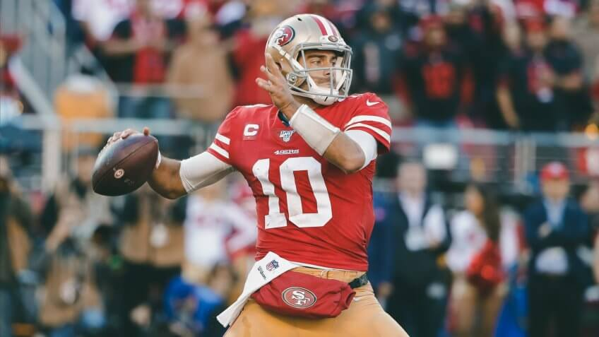 San Francisco 49ers quarterback Jimmy Garoppolo (10) passes against the Minnesota Vikings during the first half of an NFL divisional playoff football game, in Santa Clara, CalifVikings 49ers Football, Santa Clara, USA - 11 Jan 2020.
