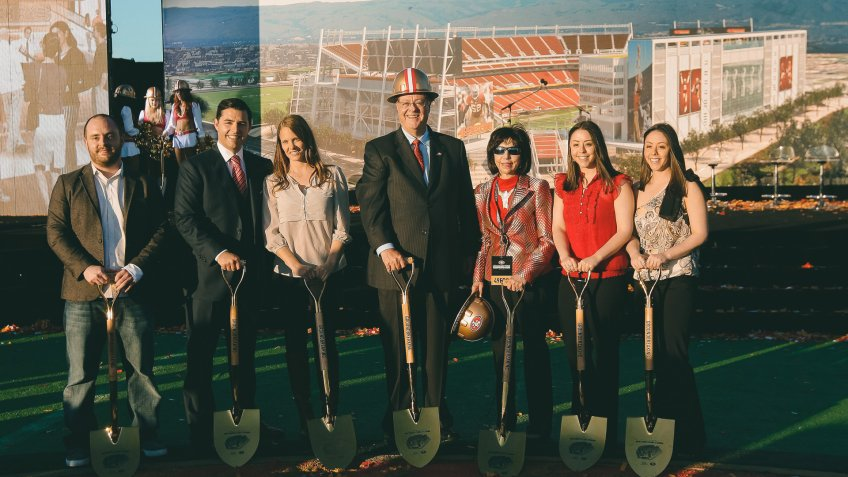 Jed York, John York, Denise DeBartolo York San Francisco 49ers owner Jed York, second from left, poses for a photo with family members, including his wife Danielle, third from left, and his parents, John York and Denise DeBartolo York, fourth and fifth from left, at a groundbreaking ceremony at the construction site for the San Francisco 49ers' NFL football stadium in Santa Clara, Calif49ers Stadium Football, Santa Clara, USA.