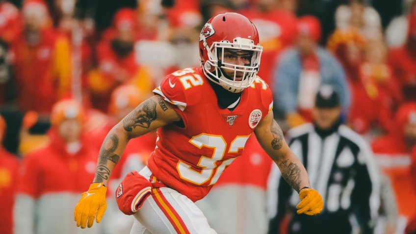 Kansas City Chiefs safety Tyrann Mathieu (32) during the first half of an NFL football game against the Los Angeles Chargers in Kansas City, MoChiefs Football, Kansas City, USA - 29 Dec 2019.