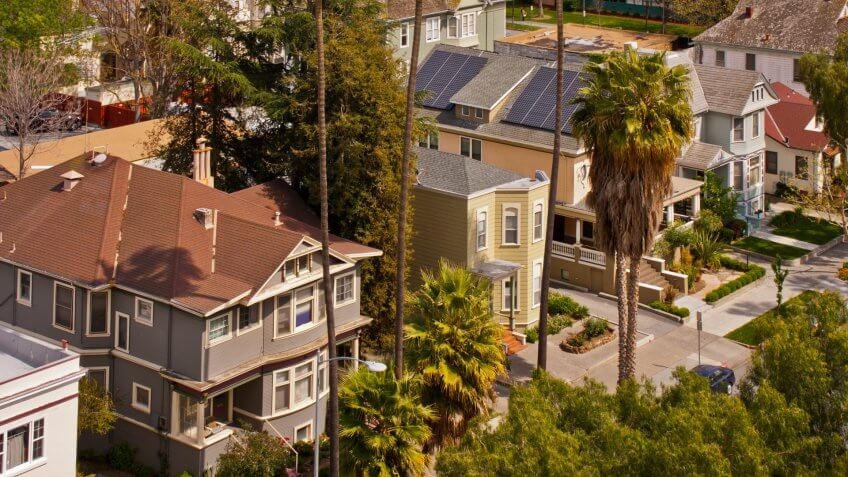 A high angle view of a row of Victorian style houses in San Jose, California.