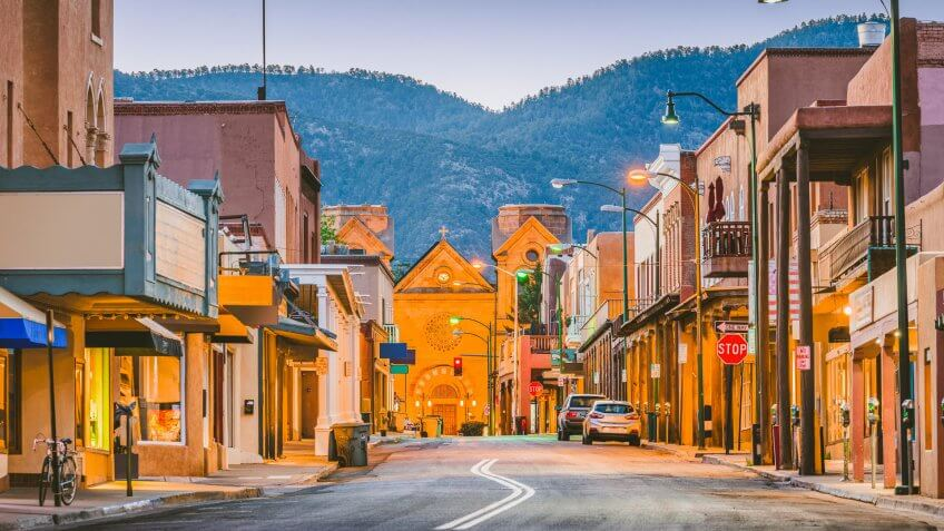 Santa Fe, New Mexico, USA downtown cityscape and street at twilight.