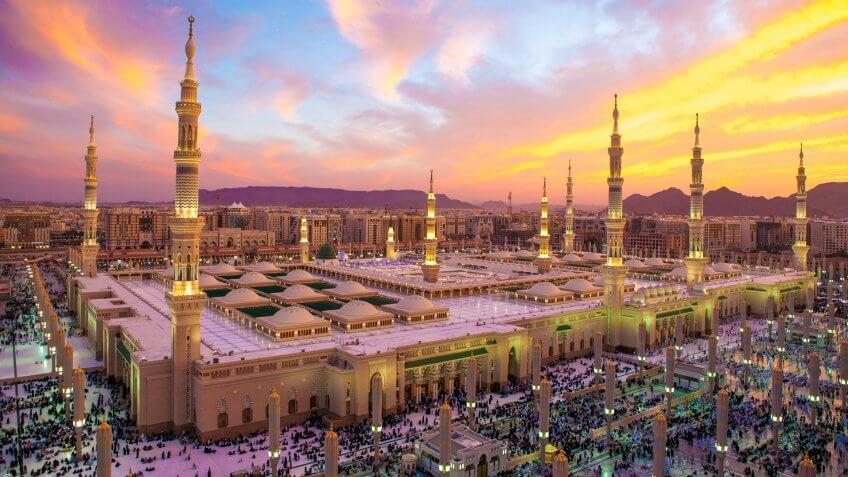 Sunset at Al-Masjid An-Nabawi.