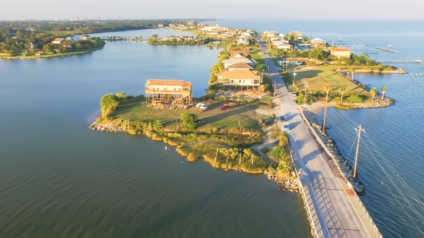 Panorama aerial view of Seabrook city near Texas Gulf Coast and Clear Lake.