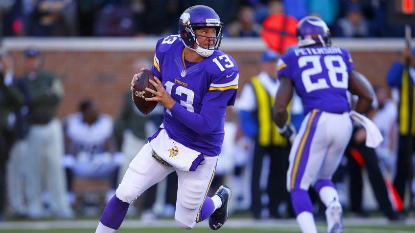 Minnesota Vikings quarterback Shaun Hill (13) looks to throw a pass against the St.