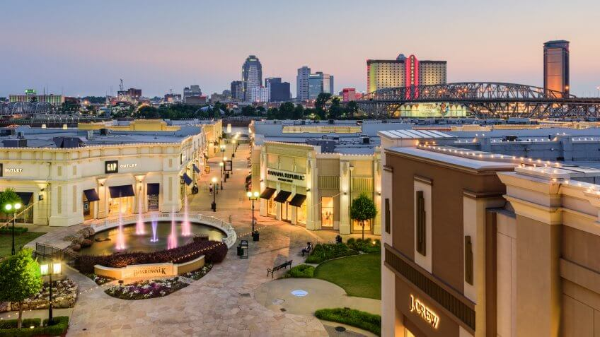 Bossier City, LA, USA- May 23, 2016: The downtown skyline of Shreveport, Louisiana as viewed from the Louisiana Boardwalk in Bossier City.