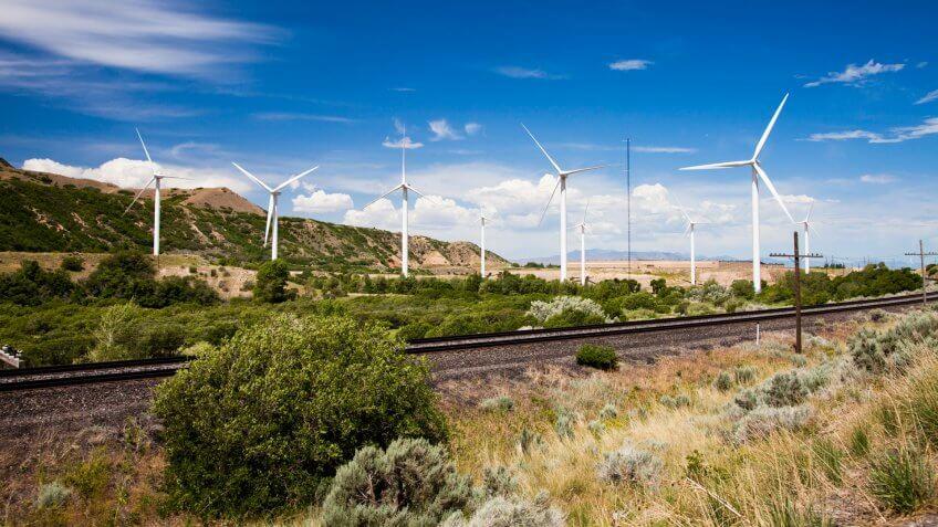 Windmills in Spanish Fork Canyon Utah.