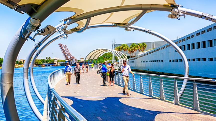 People on the Riverwalk in downtown Tampa FL.