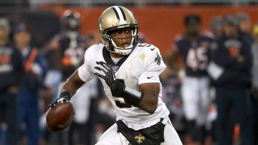 New Orleans Saints' Teddy Bridgewater scrambles during the second half of an NFL football game against the Chicago Bears in ChicagoSaints Football, Chicago, USA - 20 Oct 2019.
