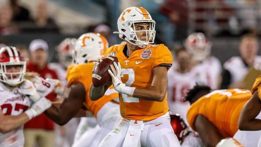 Mandatory Credit: Photo by Kyle Okita/CSM/Shutterstock (10517045m)Tennessee QB Jarrett Guarantano #2 gets ready to throw the ball during the TaxSlayer Gator Bowl football game between the Indiana Hoosiers and the Tennessee Volunteers at TIAA Bank Field in Jacksonville, FLNCAA Football TaxSlayer Gator Bowl Tennessee vs Indiana, Jacksonville, USA - 02 Jan 2020.