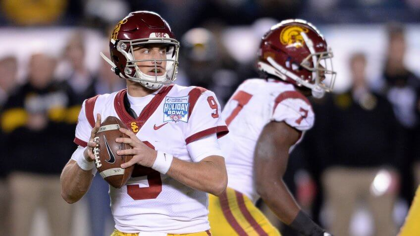 Mandatory Credit: Photo by Orlando Ramirez/AP/Shutterstock (10513794ab)Southern California quarterback Kedon Slovis (9) looks for a receiver during the second half of the Holiday Bowl NCAA college football game against Iowa, in San Diego.