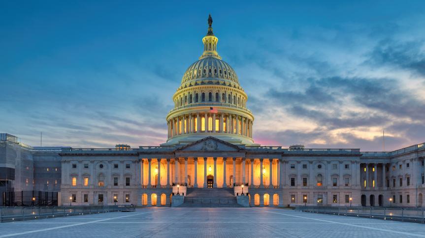 The United States Capitol building at sunset, Washington DC, USA.