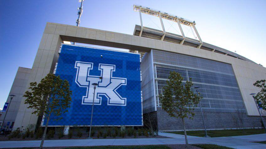 Lexington, Kentucky, USA - April 22, 2016: University of Kentucky banner on the exterior of Commonwealth Stadium in downtown Lexington.