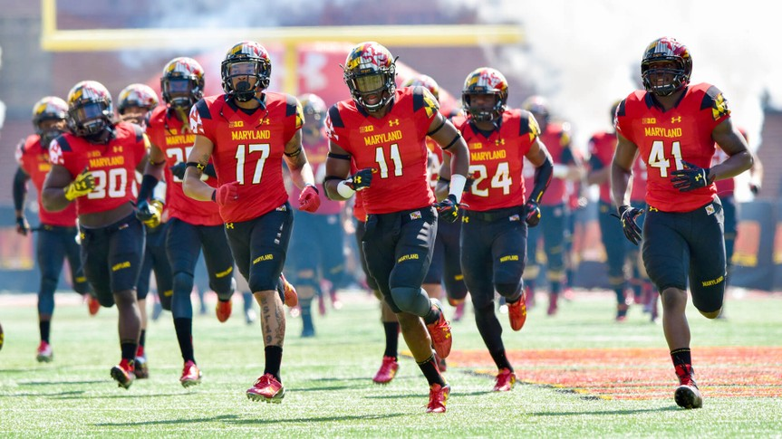 COLLEGE PARK, MD - SEPTEMBER 19: The University of Maryland football team takes the field prior to a NCAA football game September 19, 2015 in College Park, MD.